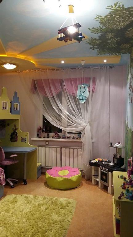 Солнце из гипсокартона на потолке детской
