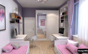 Комната для двух девочек розовый и серый