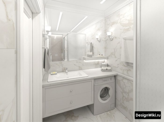 Белая ванная 4 кв.м со стиральной машинкой
