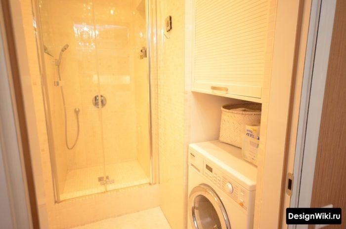 Ванная с душем и стиральной машиной