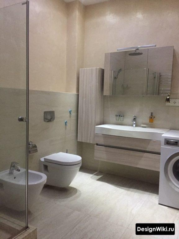 Ванная 6 кв.м с душем и стиральной машиной