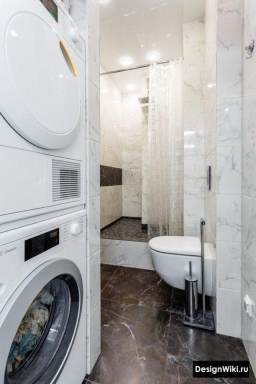 Дизайн интерьера ванной с туалетом и стиральной машиной