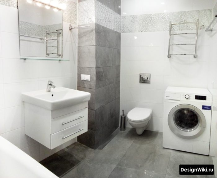 Дизайн плитки для ванной комнаты со стиральной машиной