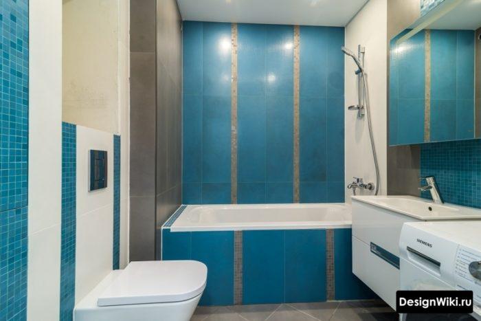 Дизайн синей ванной комнаты 4 кв со стиральной машиной