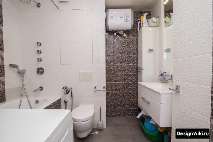 Интерьер ванной 6 кв.м с плиткой пикселькой