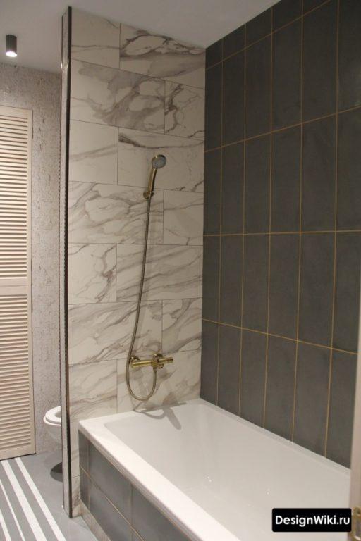 Комбинирование плитки в небольшой ванной