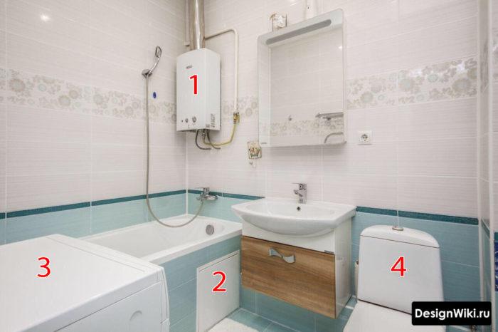 Котёл со стиральной машиной в ванной комнате с туалетом