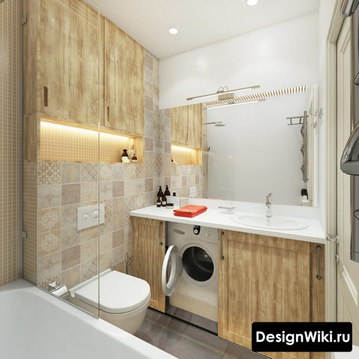 Модная плитка пэчворк для маленькой ванной