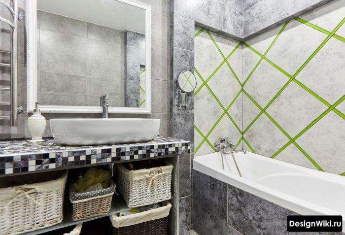 Небольшая ванная в стиле лофт