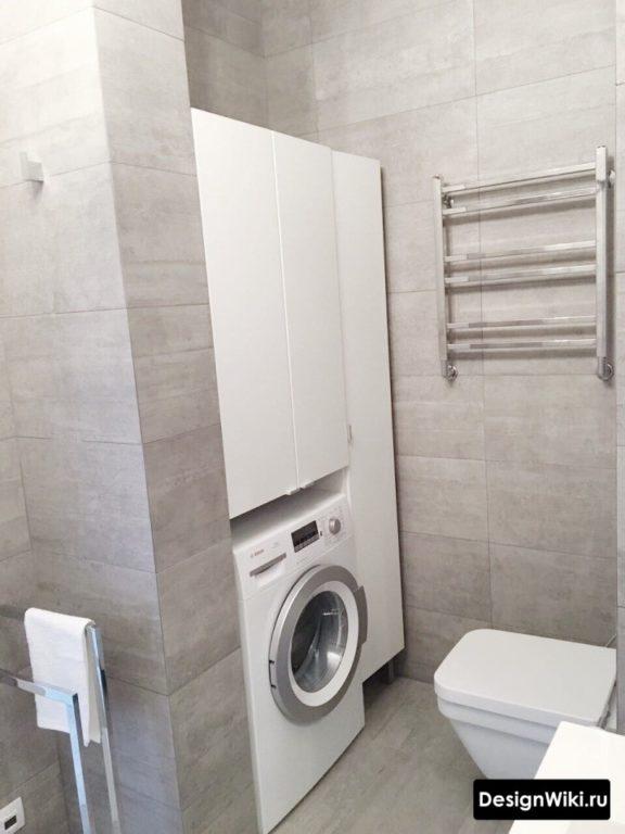 Ниша для шкафа и стиральной машины в ванной