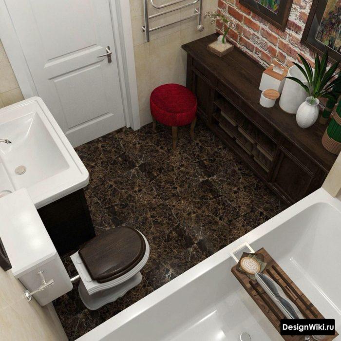 Плитка под мрамор на полу небольшой ванной