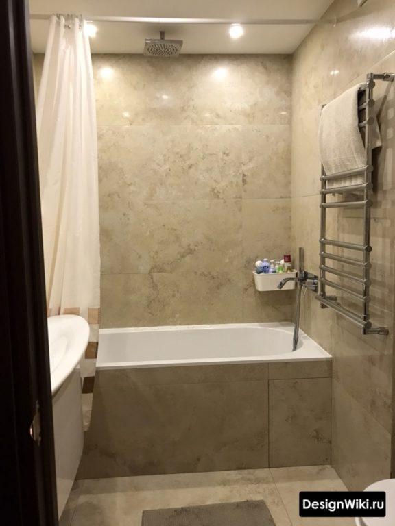 Плитка травертин в интерьере малогабаритной ванной