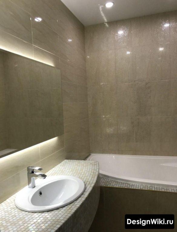 Полуматовая квадратная плитка для маленькой ванной