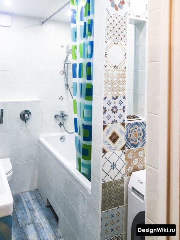 Пэчворк в ванной 4 кв.м с туалетом