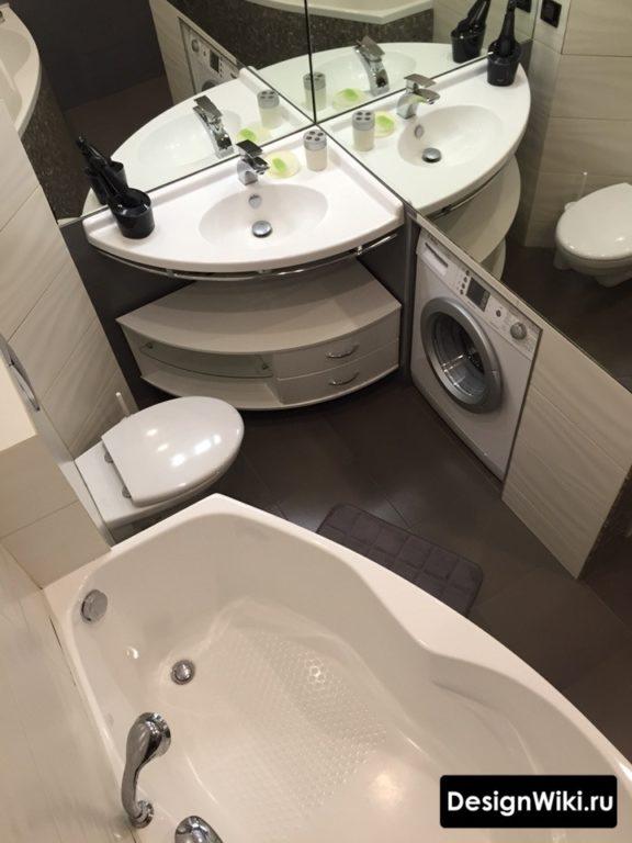 Ремонт в маленькой ванной с туалетом и стиральной машиной