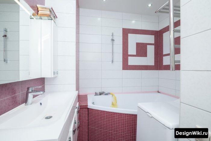 Современный интерьер ванной 4 квадрата со стиральной машиной