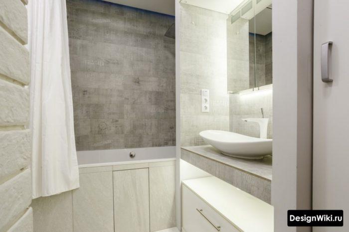 Стильный современный дизайн маленькой ванной комнаты