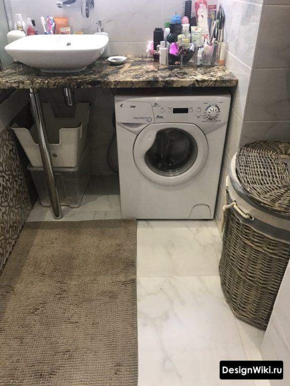 Столешница с раковиной над стиральной машиной