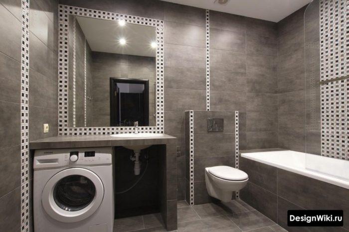 Темный дизайн ванной со стиральной машиной