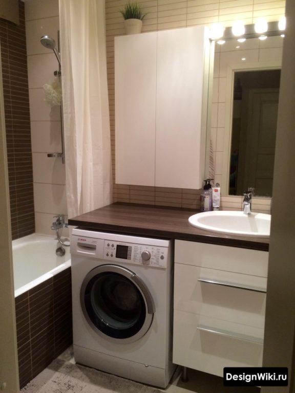 Шкаф для хранения вещей в маленькой совмещенной ванной #дизайнинтерьера #дизайнванной