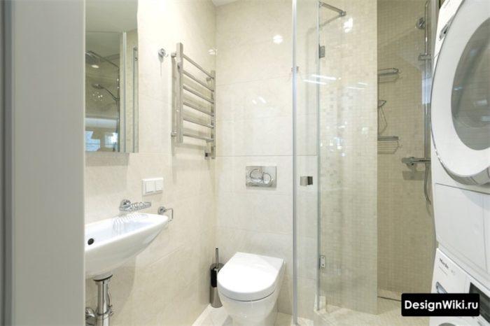 4 кв.м. с душем туалетом и стиральной машиной