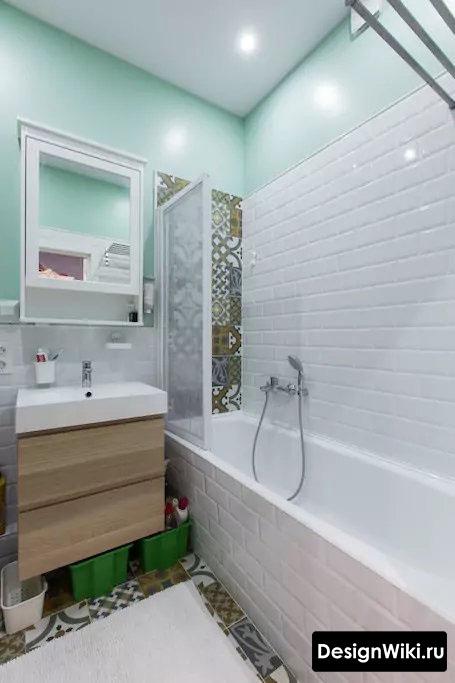 Белый и бирюзовый цвет в ванной