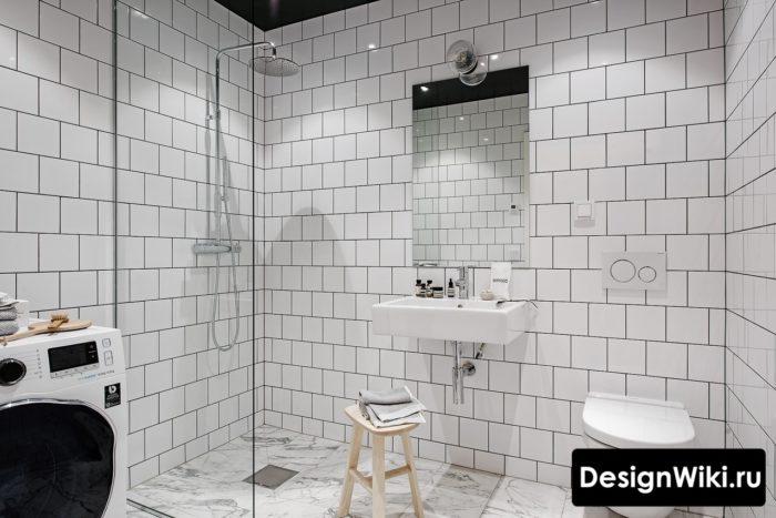 Белый скандинавский стиль в ванной комнате