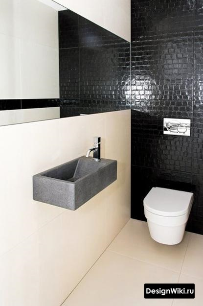 Бетонная раковина в туалете