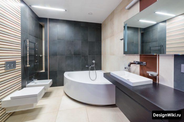 Большая ванная в стиле северных стран