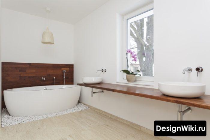 Большая ванная в шведском стиле