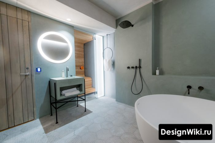 Ванная в скандинавском стиле большая и современная