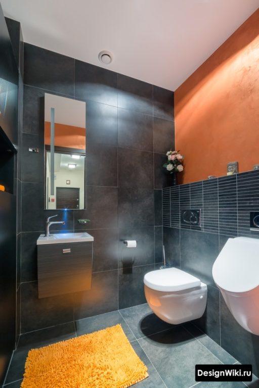 Ванная в стиле лофт с яркими акцентами