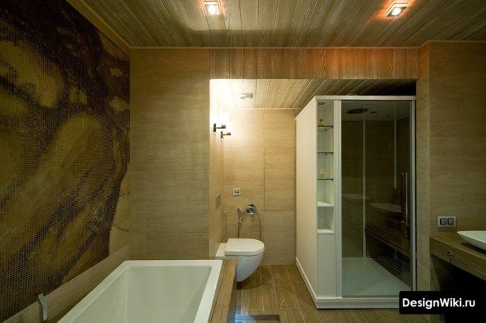 Ванная комната с душем в плитке под дерево