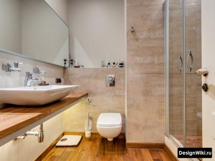 Дерево в интерьере ванной в скандинавском стиле