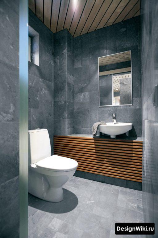 Деревянные рейки в интерьере туалета