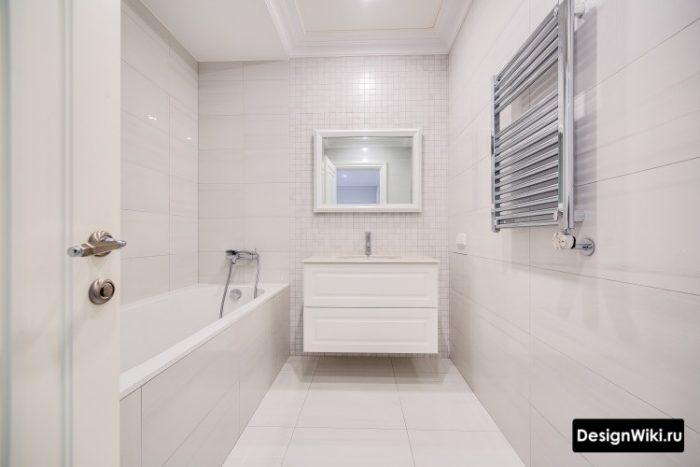 Дизайн бежевой ванной в северном стиле