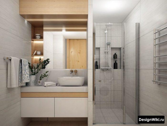Дизайн ванной с раковиной чашей и встроенным смесителем