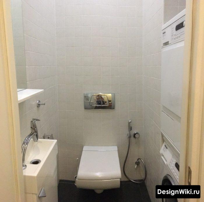 Дизайн туалета со стиральной и сушильной машиной