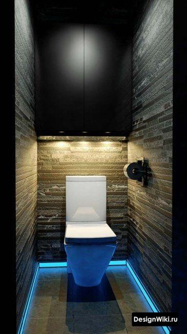 Дизайн туалета с неоновой подсветкой плинтуса