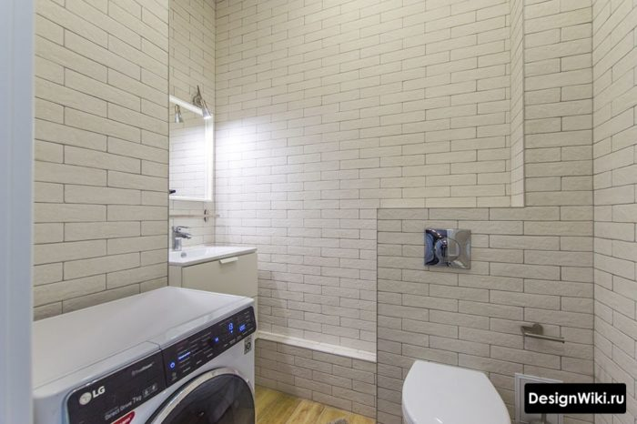 Дизайн туалета с одним видом плитки