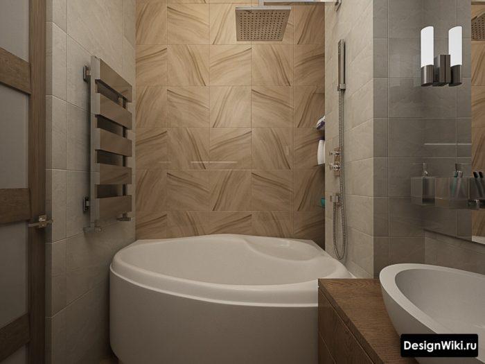 Квадратная плитка под дерево в ванной