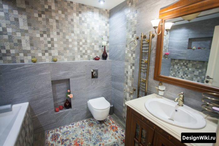Классический интерьер ванной в скандинавском стиле