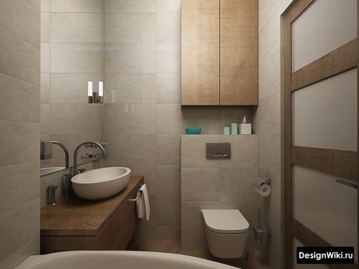 Коричневое дерево и серый в ванной