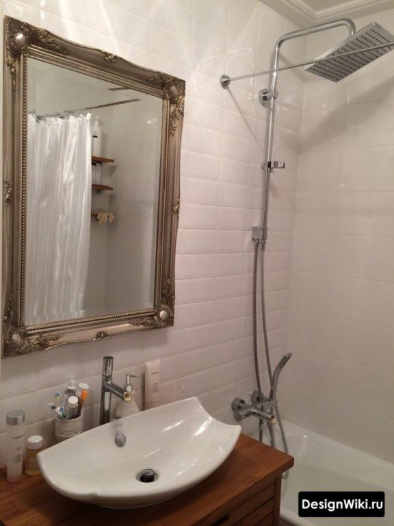 Красивая раковина в интерьере ванной в скандинавском стиле