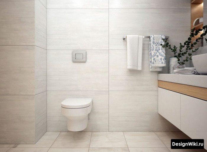 Крупная бежевая плитка в норвежской ванной