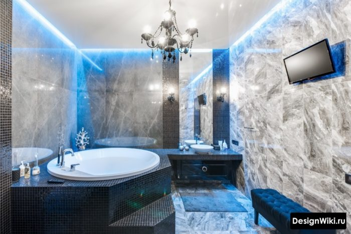 Модная красивая ванная в стиле арт-деко