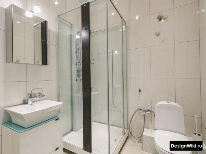 Небольшая ванная с душем и туалетом