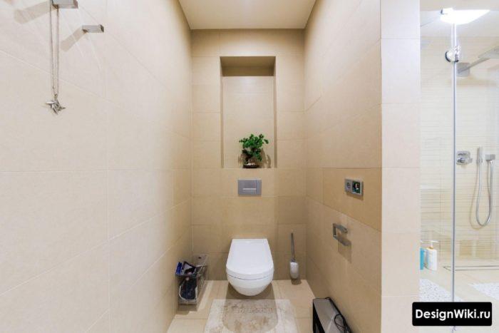 Отделка туалета плиткой в стиле минимализм