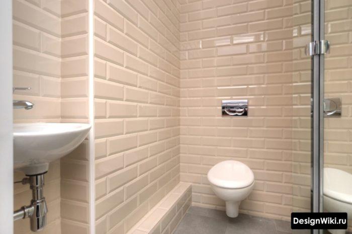Плитка белый кабанчик в интерьере туалета