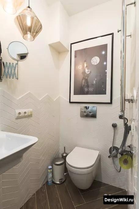 Плитка до середины стены в туалете